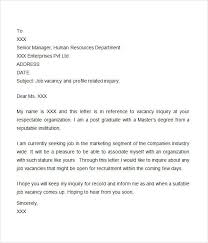 inquiry letter doc  letter of inquiry job