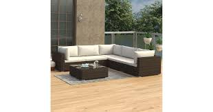 <b>6 Piece Garden Lounge</b> Set with Cushions Poly Rattan Brown ...