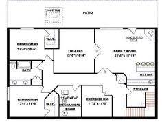 Basement plans  Basements and House plans on PinterestBungalow   Walkout Basement Plan Basement floor plan
