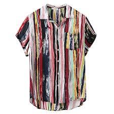 Mens Buttons Shirts <b>Summer Vintage</b> Striped Fly Breathable <b>Short</b> ...