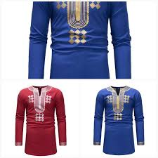guyuera new long sleeved t shirt african ethnic style stitching mens v neck bottoming shirt