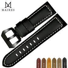 MAIKES <b>New</b> watchbands <b>22 24 26mm</b> men black genuine leather ...
