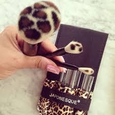 onesque leopard print makeup brush set
