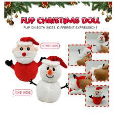 Flip Snowman <b>Santa</b> Claus Doll Reversible Plush <b>Toy Double</b>-sided ...