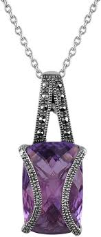 Aura <b>925 Sterling Silver</b> Marcasite Pendant Necklace 16 Inch ...
