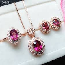 Natural pink topaz gem jewelry sets natural gemstone ring earrings ...