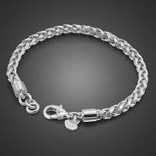 Man sterling silver fashion bracelets 925 pure silver <b>4 mm</b> 20cm ...