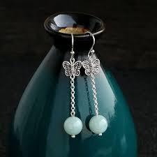 <b>S925 Sterling Silver Natural</b> Jade Earrings Female Long Jade ...