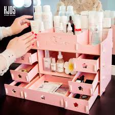 Large wooden <b>desktop cosmetics storage box</b> lipstick makeup shelf ...