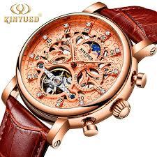 <b>KINYUED</b> Skeleton Automatic Mechanical Watch <b>Men</b> Sun Moon ...