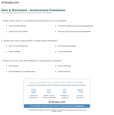 quiz worksheet achievement orientation com print achievement orientation definition example worksheet
