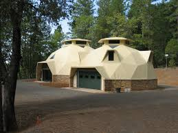 Geothermal Pipes   AiDomes ′ dome home linked to dome garage in Forest Ranch  California