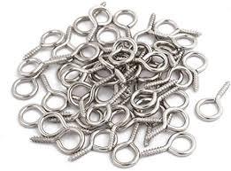 <b>uxcell</b>® <b>50 Pcs 2mm</b> Dia Thread Stainless Steel Screw Eye Hook ...