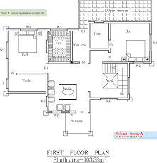 August   Kerala home design and floor plansKerala Home plan and elevation   Sq  Ft   First Floor