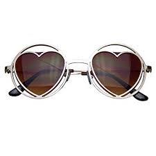 <b>Womens</b> Round <b>Metal Heart</b> Shape Hippie Circle Sunglasses (Gold ...