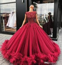 2019 <b>New Red Ball Gown</b> Prom Dresses Lace Appliques Beads ...
