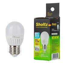 <b>Лампа светодиодная Sholtz</b> 11 Вт E27 <b>шар</b> G45 4000 К дневной ...