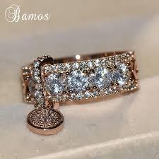 <b>Luxury</b> Rose Gold & <b>White Zircon Engagement</b> Ring   BEAUTIFUL ...