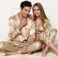 2 PCS <b>Ladies Sexy Silk Satin</b> Women Pajama Set Women Gold ...