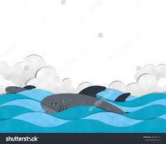 shark swimming on sea paper cut stock illustration  shark swimming on sea paper cut and paste