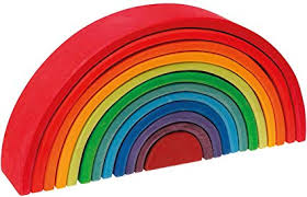 Grimm's Large 12-Piece Rainbow Stacker - <b>Wooden</b> Nesting <b>Puzzle</b>