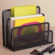 <b>Black Metal Mesh Desk</b> Organizer Desktop Letter Sorter Mail Tray ...