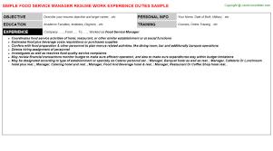 service manager job titlefood service manager resume