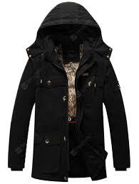 <b>Men</b> Winter <b>Washed</b> Cotton Plus Thick Velvet Hooded Jacket Coat ...