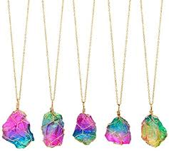 Natural Crystal Rainbow Stone Necklace,Beauty Top Natural ...