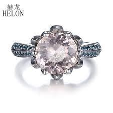 2019 <b>HELON</b> Pave SI/H Blue Diamonds <b>Solid 10K White</b> Gold 8mm ...