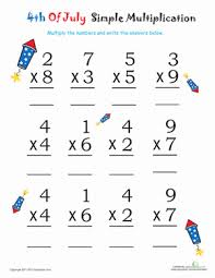 Simple Multiplication for 4th of July: Firecrackers | Worksheet ...July 4th/Independence Day Second Grade Multiplication Worksheets: Simple Multiplication for 4th of July