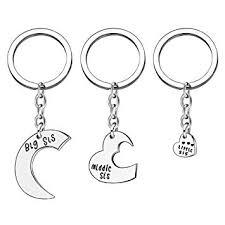 3pcs <b>Big Sis Middle Sis Little Sis</b> Love Heart Silver Alloy Charm ...
