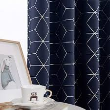Topick Dark Blue Blackout Curtains <b>Living</b> Room Sliver Foil <b>Print</b>
