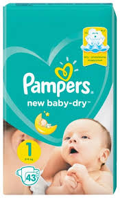 <b>Pampers подгузники New</b> Baby Dry 1 (2-5 кг) 43 шт. — купить по ...