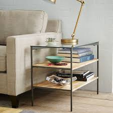 glass topped industrial storage side table west elm buy west elm industrial storage coffee table
