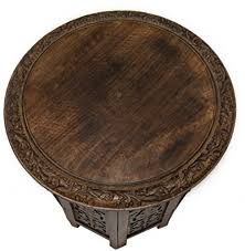 solid mango wood jaipur solid wood hand carved accent table antique brown made from 100 mango wood carved solid mango wood
