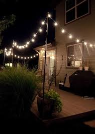 very detailed instructions for hanging outdoor string lights the arrangement can be changed but the backyard lighting ideas