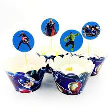 <b>24pcs</b> Hulk Superman Captain Avengers iron Man Cupcake ...