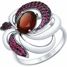 <b>Кольцо</b> SOKOLOV из серебра с гранатом и красными фианитами