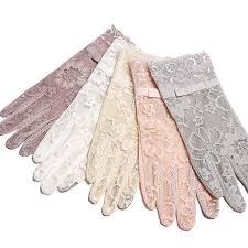 Touch Screen Short <b>Lace</b> Gloves Spring Ladies UV Slip Resistant ...