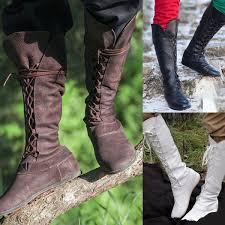 <b>Autumn Winter</b> Men <b>Flat</b> Long Boots Vintage Leather Knee Length ...