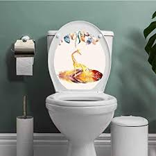 SCOCICI1588 <b>Animal</b> on Feather Bathroom <b>Toilet</b> seat <b>Sticker</b> Decal ...