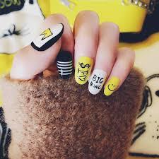 <b>Fashion</b> yellow Cute <b>Fake</b> Nail <b>Full Cover False</b> Nail 24pcs Smiling ...