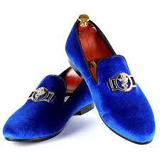 <b>Harpelunde</b> Sword Buckle <b>Men Dress</b> Shoes <b>Blue</b> Velvet Loafer ...