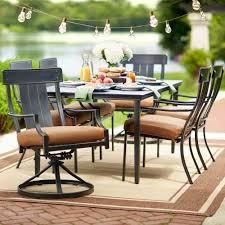 patio dining: hampton bay oak heights  piece patio dining set with cashew cushions