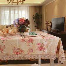 rectangular dining table cover cloth knitted vintage: elegant pink rose print dining table cloths designer brand rustic vintage floral lace tablecloth