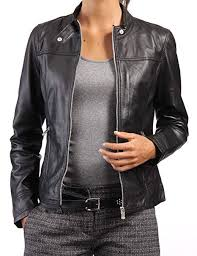 <b>New Women</b> Genuine <b>Real Leather</b> Jacket Ladies Slim Fit Biker ...