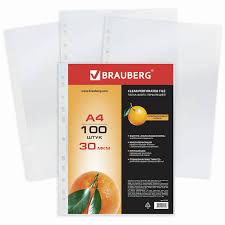 Купить <b>Папки</b>-<b>файлы перфорированные</b>, А4, <b>BRAUBERG</b> ...