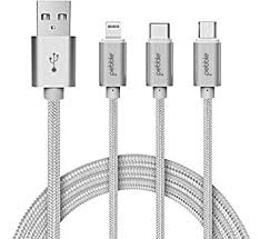 Pebble PNC311S <b>3</b> in <b>1 Nylon</b> Braided Charging Cable with <b>Type C</b>