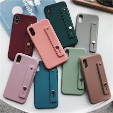 Solid Color <b>Wristband Bracket Phone Case</b> IPhone X XR XSMax 6 7 ...